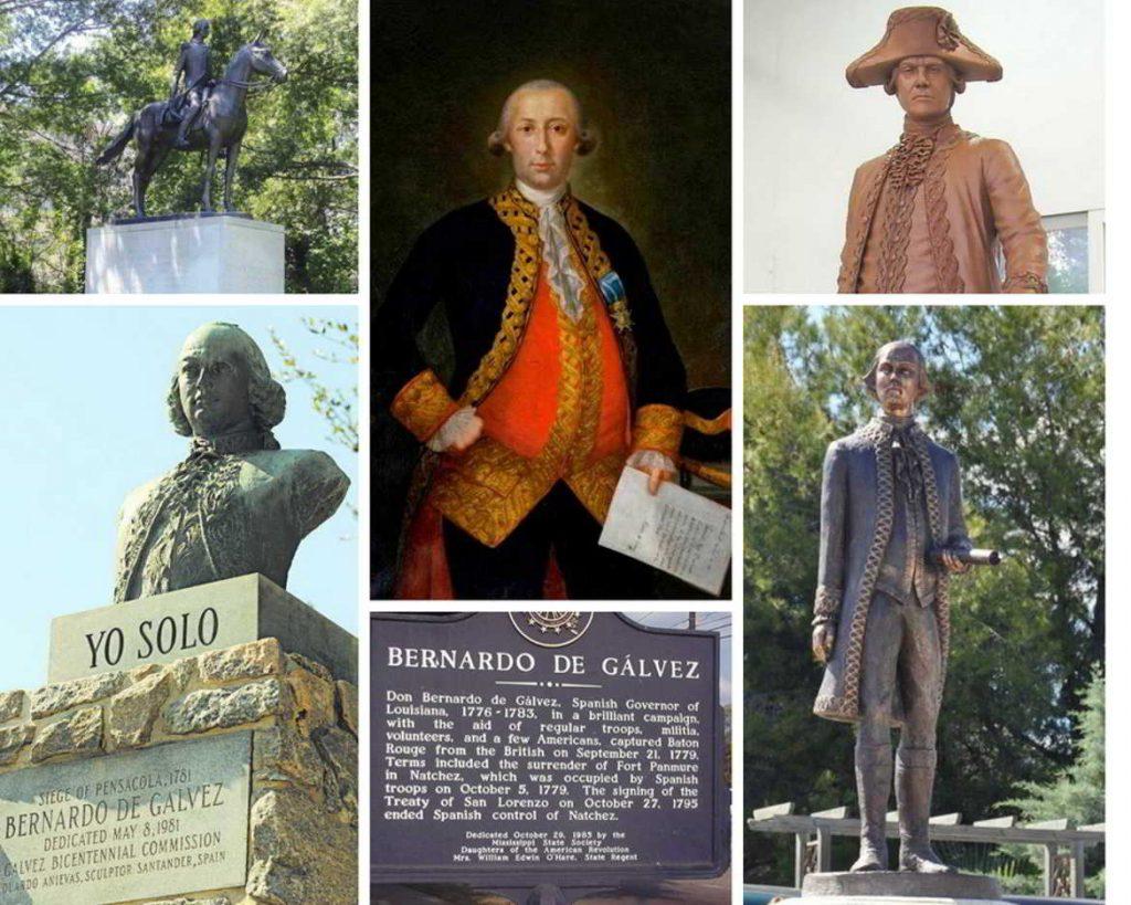 Estatuas de Bernardo de Gálvez en varios lugares de EE.UU y España